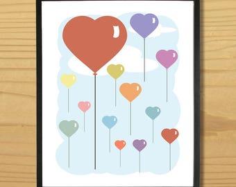 Balloon Print, Heart Print, Heart Arrt, Balloon Printable, Love Printable, Love Art, Heart Printable, Digital Download