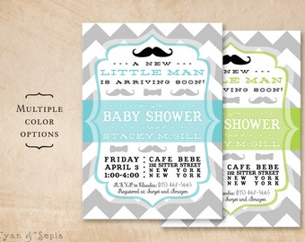 Boy Baby Shower Invitation, Little Man, Mustache Bowtie Chevron - Customized 5x7 Printable - Aqua Blue Lime Green Black Gray Grey White