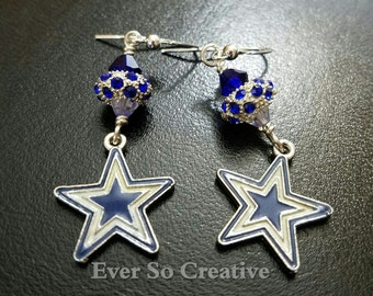 Dallas Cowboy Euro Rondelle Swarovski Earrings