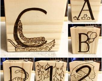 Oversized Wood Burned Letter Block