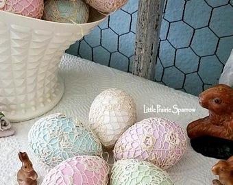 Egg, Easter Egg, Pastel Egg, Crochet Doily Eggs, Easter Decor, Easter Gift, Shabby Chic, Spring Decor, Vintage Easter Decor, Easter Ornament