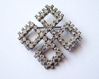 Rhinestone Brooch Pin Vintage Large Brooch Rhinestone Jewelery Geometric Jewelry Bridal Wedding Brooch