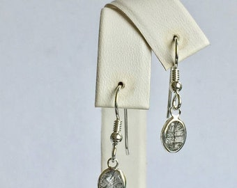 MothersDaySale Tourmalinated Quartz 8x6mm 2.05ctw Backset Drop Sterling Silver Earrings