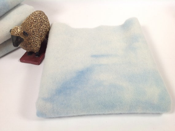 1) Fat 1/4 yard, Soft Skies Blue, Hand Dyed Wool Fabric for Rug Hooking and Applique, W464. pale mottled blue