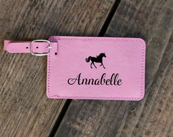 Engraved Tag Kid Luggage Tag With Horse Kid Bag Tag Luggage Tag For Kids Custom Luggage Tag Personalized Diaper Bag Tag Child Travel Gift