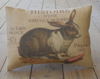 French Rabbit Burlap Pillow, Shabby Chic 17, French Postcard, Farmhouse Pillows, INSERT INCLUDED