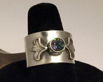 Sterling Silver Cuff Ring Thick Wide Band Hand Stamped with Mystic Topaz Cabochon