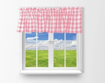 Cotton Valance Gingham Checker Pink / Window Decor / Window Treatments