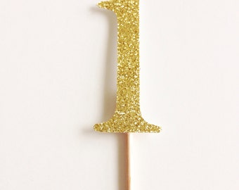 12 Custom Glitter Number Cupcake Toppers for Wedding, Bridal or Baby Shower, Birthday Party.