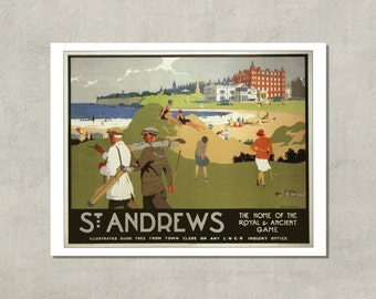 St. Andrews - The Home Of The Royal And Ancient Game, 1930 - 8.5x11 Travel Poster Print - available in 11x14 and 13x19 - see listing details