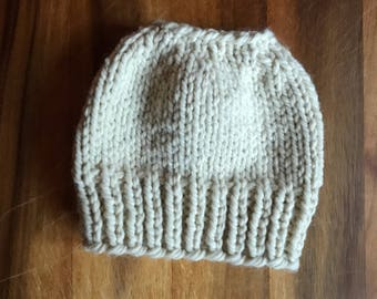 Messy Bun Beanie / Womens knit hat / Adult knit hat / Winter hat / Ponytail knit hat / Ponytail knit beanie / holiday hat