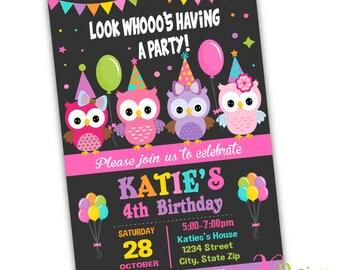 Owl Invitation , Birthday Invitation Printable