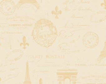 Paris Fabric - Carte Postale From Paris with Love by Lisa Audit for Wilmington Prints Fabric - 86354 112 Cream - Priced by the half yard