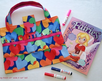 Child Coloring Supplies Bag - Hearts - Out to Dinner Kid Activity Tote - Organizer for Quiet Time Moments - Children Travel Busy Bag