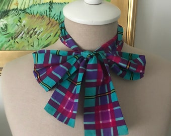 Vintage Silk Scarf for Neck or Waist Pink Green Black Purple Yellow Plaid Belt or Neck Tie 1980s Scarves for Her
