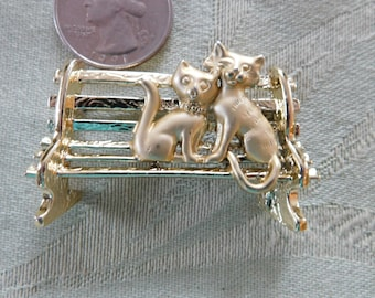 Cats In  Love on Bench Brooch, Unsigned