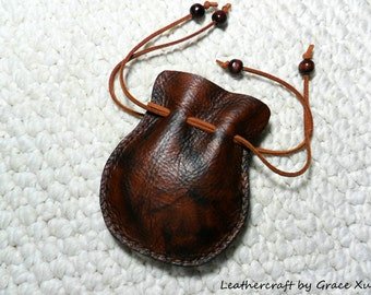 100% hand stitched handmade vintage style brown marbled pattern cowhide leather Coin / earbuds / Trinket / Jewelry pouch