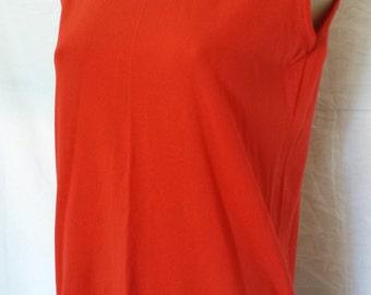 Vintage 1960's Mod Mock Turtleneck top sleeveless shirt  red  sz  S - M