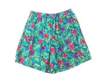 90s Floral Silky Shorts