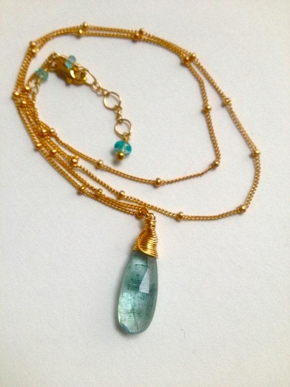 Aquamarine Necklace Moss Aquamarine Briolette March Birthstone Throat Chakra Jewelry Blue Gemstone Gift For Her  Bridal Wedding