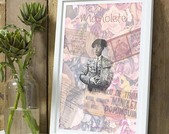 Bullfighter Manolete flowers A4 unframed print