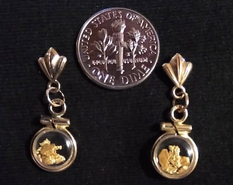 Gold nuggets locket earrings