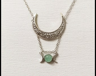 Triple moon necklace, triple goddess pendant, wiccan jewelry, witch necklace, witchcraft jewelry, pagan jewelry, silver half moon green jade