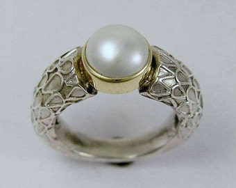 Sterling silver ring, pearl ring, silver yellow gold ring, engagement ring, pearl tension ring, single pearl ring - In your steps R1227A-1