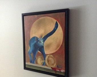 Oil painting.  Blue Cat