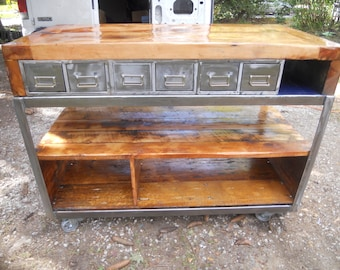 Industrial kitchen island reclaimed industrial cart and Vermont barn wood worktable FREE SHIPPING