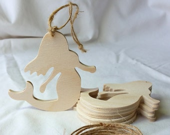 "Wooden Mermaid Ornament, DIY party favor, set of 6, Unfinished, 3"" tall, holiday decoration, nautical, beach silhouette shape, party favor"