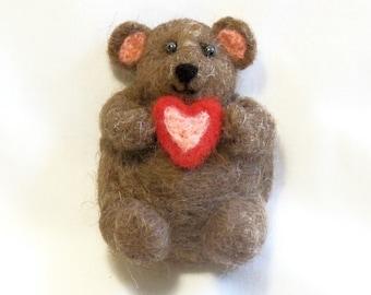 Refrigerator Magnet - Teddy Bear - Needle Felted Bear - Valentine Gift - Needlefelt Animal - Large Magnet - Kitchen Decor -  Office Decor