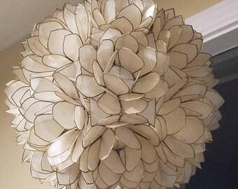 Lotus Flower Design Capiz Shell Chandelier Coastal Home Decor Elegant DIY Hanging Light Geometric Shapes Natural Island Cottage Flare Ocean