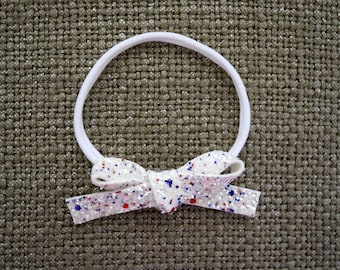 4th of July White Glitter Bow OSFA Adorable for Newborn Baby Little Girl Child Adult Holiday Red White Blue Summer Patriotic Headwrap Bow
