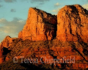 Sedona Arizona Photo, Red Rocks Print, Landscape Photography, Desert Vista, Desert Mountain Photo, Nature Photo, Travel Print, Vortex, Blue