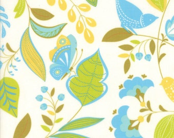 Colorful Bird and Leaf Fabric in White - Wing & Leaf by Gina Martin from Moda - Fat Quarter