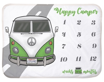 Baby Milestone Blanket Green VW Bus Personalized Baby Blanket Track Growth and Age New Mom Baby Shower Gift VW Baby Gifts Camper Van