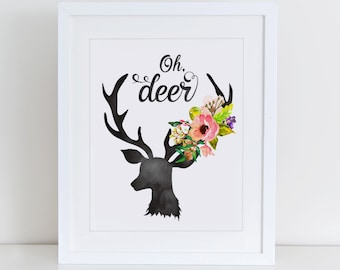 Oh Deer Art Print, Oh Deer Watercolor Art, Instant Download, Printable Home Decor, Digital Art Print, Watercolor Art
