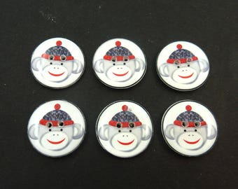 6 Sock Monkey Buttons. Handmade Buttons.  Sock monkey sewing buttons.