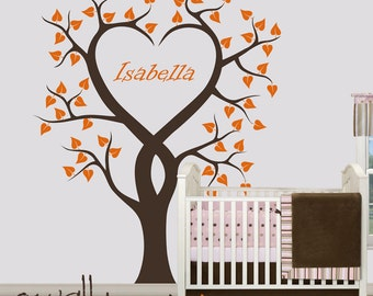 """Large Tree Wall Decal Personalized Nursery Tree Wall Decal Baby Name Wall Sticker  - Large: approx 75"""" x 65"""" - W006"""