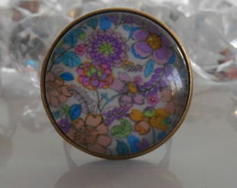 """Ring bronze """"Floral painting"""" glass cabochon"""