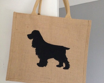 Cocker spaniel dog Hand painted jute shopping bag- large. Burlap gift bag, hessian tote bag, dog silhouette. Dog lover gift