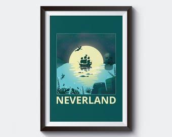 Neverland Print / Neverland Art / Peter Pan Poster / Peter Pan Nursery / Disney neverland poster