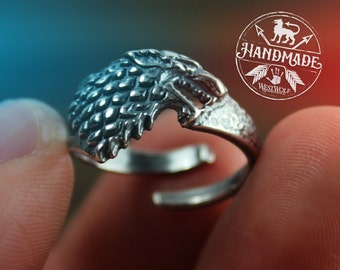 Game of Thrones Direwolf Ring of House Stark - .925 Sterling Silver - US Sizes 6/7/8/9