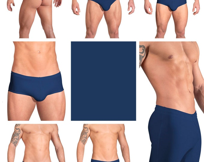 Solid Navy Blue Swimsuits for Men by Vuthy Sim.  Choose Thong, Bikini, Brief, Squarecut, Boxer, or Board Shorts - 15