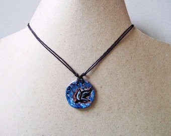Pendant Necklace, Unique Jewelry Handmade,, Blue pendant  Artistic Jewelry, Gift for her, Gift Idea