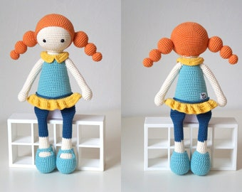 Crochet doll / Handmade doll / Amigurumi doll / Crochet toy / Handmade toy / Girls, toddlers toy / Baby shower, Christmas, birthday gift