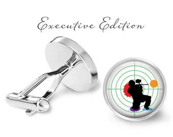 Paintball Cufflinks - Paintballing Cuff Links - Paintballer Cufflink (Pair) Lifetime Guarantee (S1196)