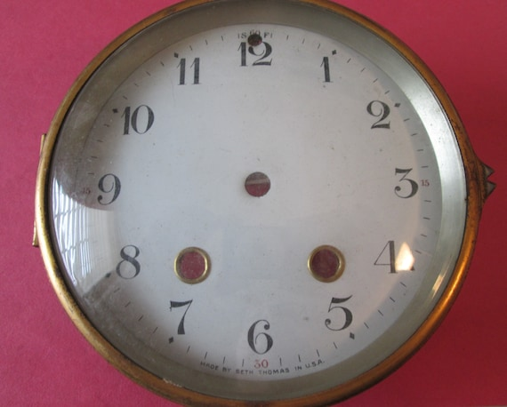 "1 Old Seth Thomas 4 3/4"" Ceramic Dial with Brass Bezel and Glass for your Clock Projects - Steampunk Art"