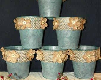 "Metal Flower Pots with Burlap Flowers and Ribbon, SET of 6 GREEN Verde Metal Buckets, 4 1/2"" High, Add Potted Flowers, Window Herb Garden"
